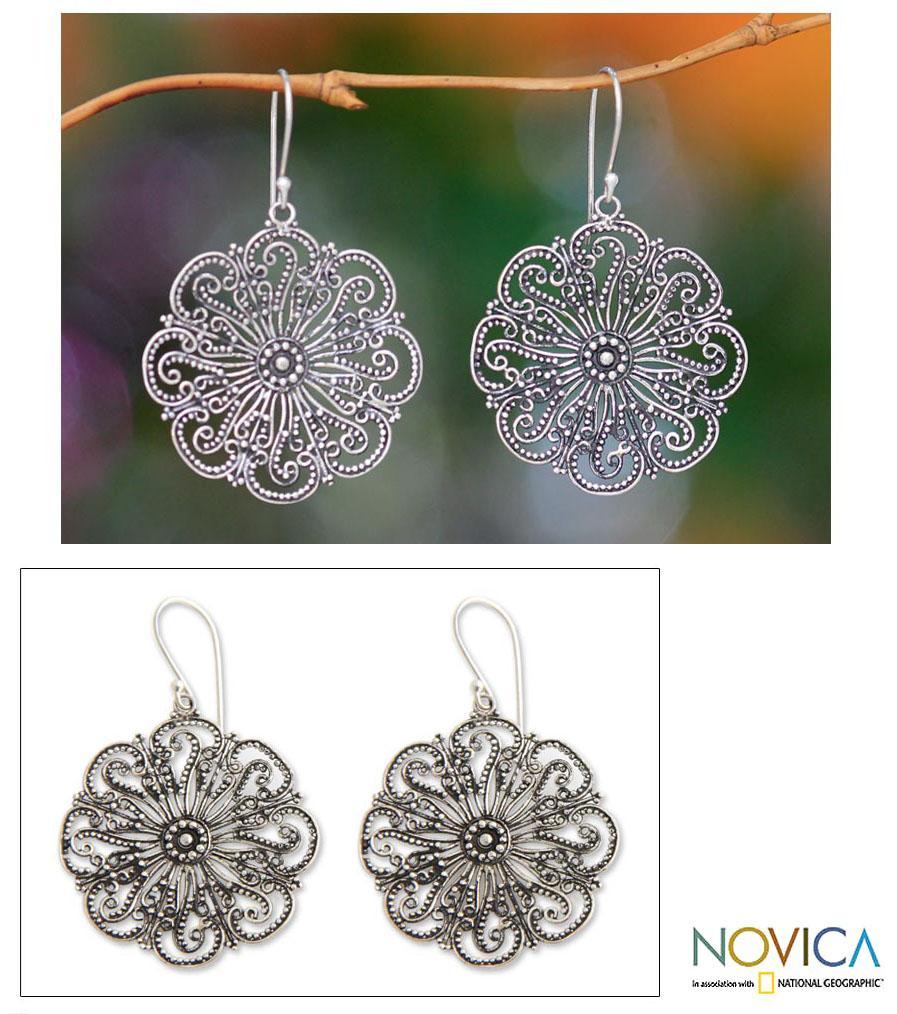 Sterling Silver 'Gardenia Halo' Flower Earrings (Indonesia)