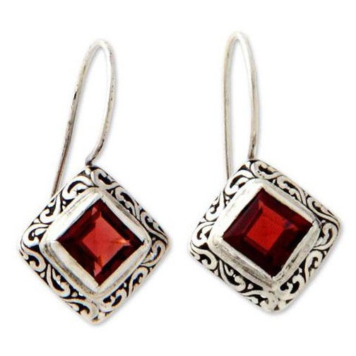 Handmade Sterling Silver Ubud Dess Garnet Earrings Indonesia Free Shipping Today 14335039