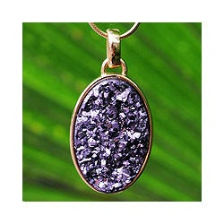 Gold Overlay 'Galactic Purple' Drusy Agate Necklace (Brazil)