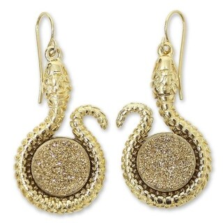 Handmade Gold Overlay 'Amazon Serpent' Drusy Agate Earrings (Brazil)