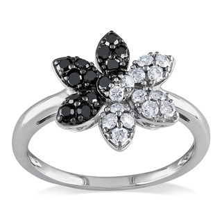 Miadora 14k Gold 1/2ct TDW Black and White Diamond Flower Ring