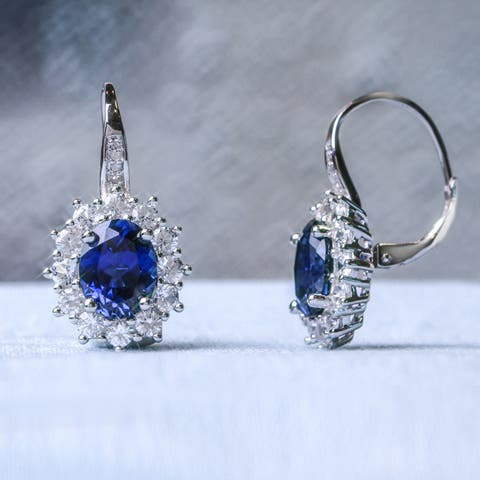 Miadora Sterling Silver Oval-Cut Created Blue and White Sapphire Diamond Halo Birthstone Leverback Earrings