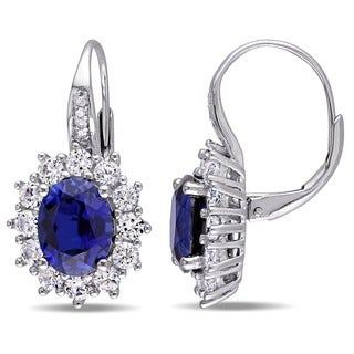Miadora Sterling Silver Created Blue and White Sapphire Diamond Halo Leverback Earrings (G-H, I2-I3)