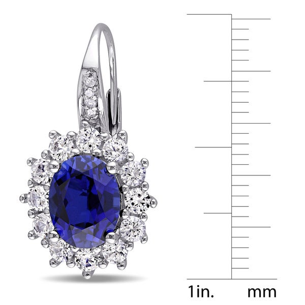 Miadora Sterling Silver Blue and White Sapphire Diamond Earrings - 25.3 mm x 13.8 mm x 16 mm