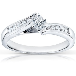 Annello by Kobelli 14k White Gold 1/4ct TDW Marquise Diamond Engagement Ring