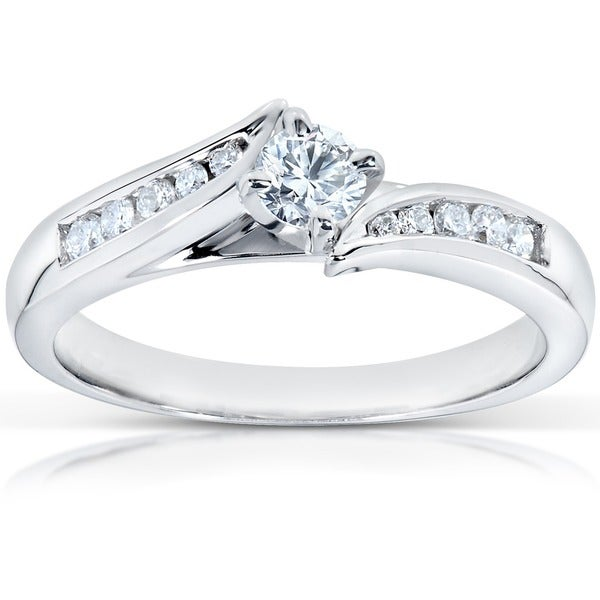 Annello by Kobelli 14k White Gold 1/3ct TDW Round Diamond Engagement Ring