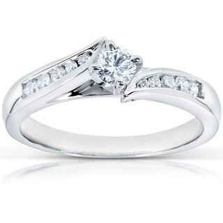 Annello by Kobelli 14k White Gold 1/3ct TDW Round Diamond Engagement Ring