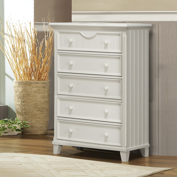 Alderson Cottage White 5-drawer Beadboard Chest
