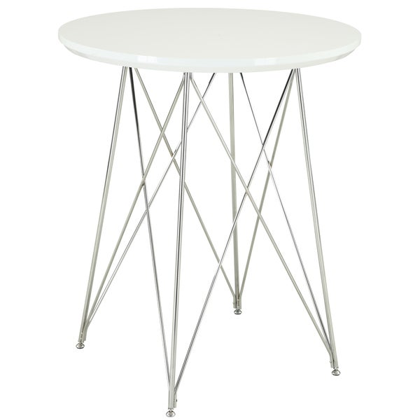 Glossy White and Chrome 36-inch Bar Table