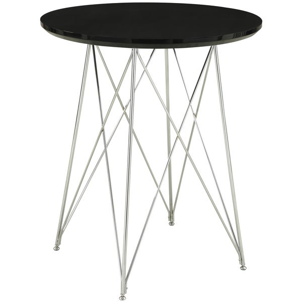 Glossy Black/ Chrome 36-inch Bar Table