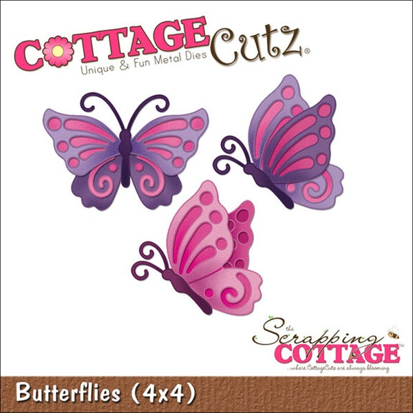 "CottageCutz Die 4""X4""-Butterflies"