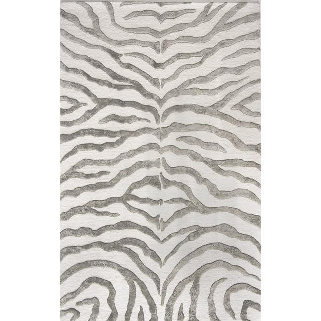 Handmade Alexa Animal Pattern Grey Zebra Wool/ Viscose Rug