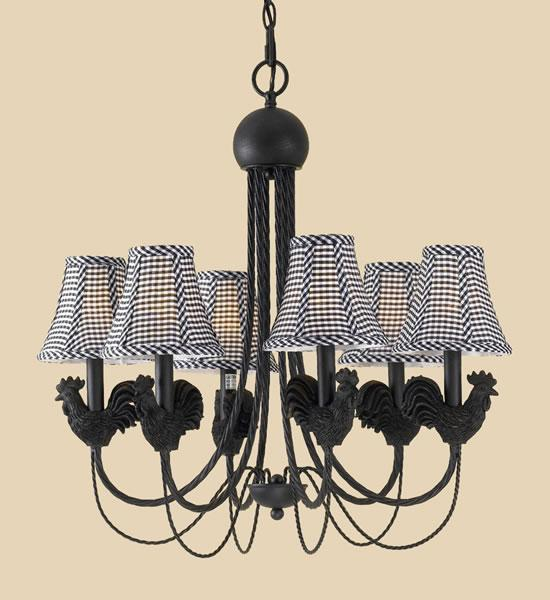 Black Roosters 6-light Iron Chandelier