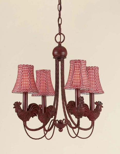Rooster 4 Light Iron Chandelier