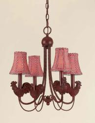 Rooster 4-light Iron Chandelier