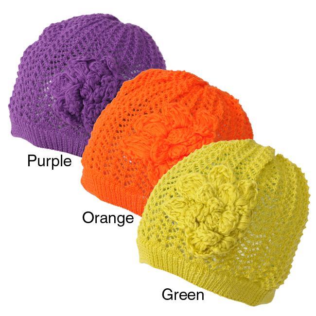 Journee Collection Women's Knit Flower Beanie