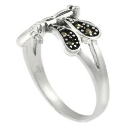Journee Sterling Silver Created Marcasite Dragonfly Ring