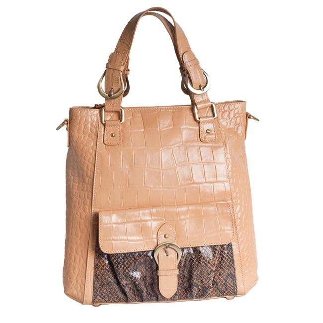 Michael Rome Croco Embossed Leather Tote Bag