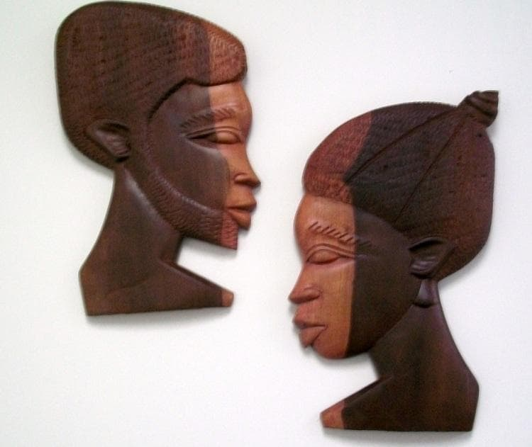 Set of 2 Ebony Wood Couple Man and Woman Large Wall Plaques (Ghana ...