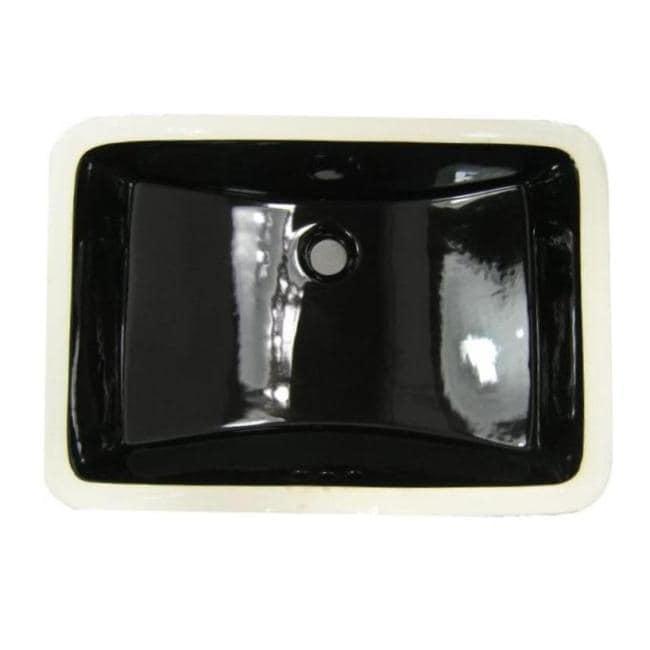 Denovo large black rectangular undermount porcelain bathroom sink free shipping today for Large undermount bathroom sinks
