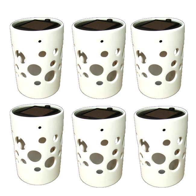 White Cylinder Ceramic Solar Lights Pot with Bubble Cutouts (Set of 6)