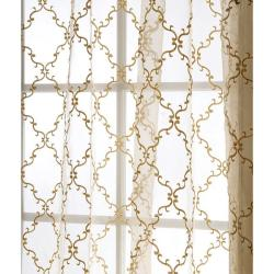 Exclusive Fabrics Jonquille 96-inch Faux Silk Embroidered Sheer Panel - Thumbnail 1
