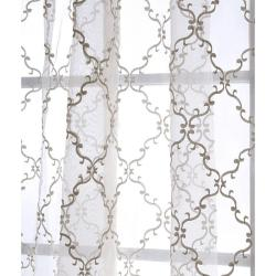 Exclusive Fabrics Jonquille 96-inch Faux Silk Embroidered Sheer Panel - Thumbnail 2