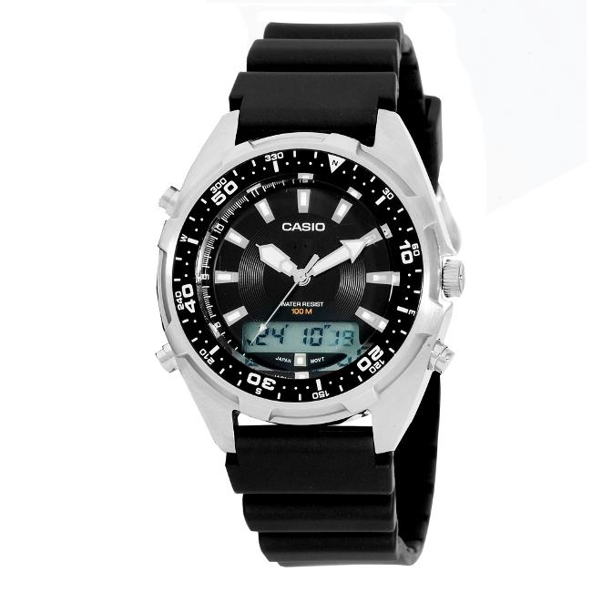7597ce3bc5b Shop Casio Men s Analog  Digital Diver Black Resin Watch - Free Shipping On  Orders Over  45 - Overstock - 5272110
