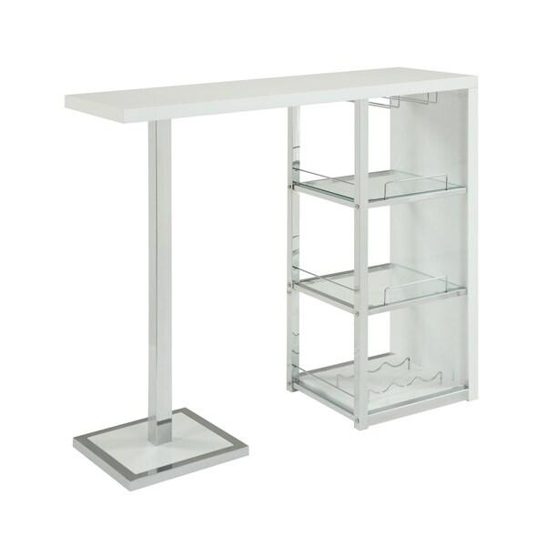 Glossy White/ Chrome/ Glass 3-shelf Bar Table