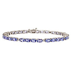 Anika and August Sterling Silver Tanzanite and Diamond Accent Bracelet