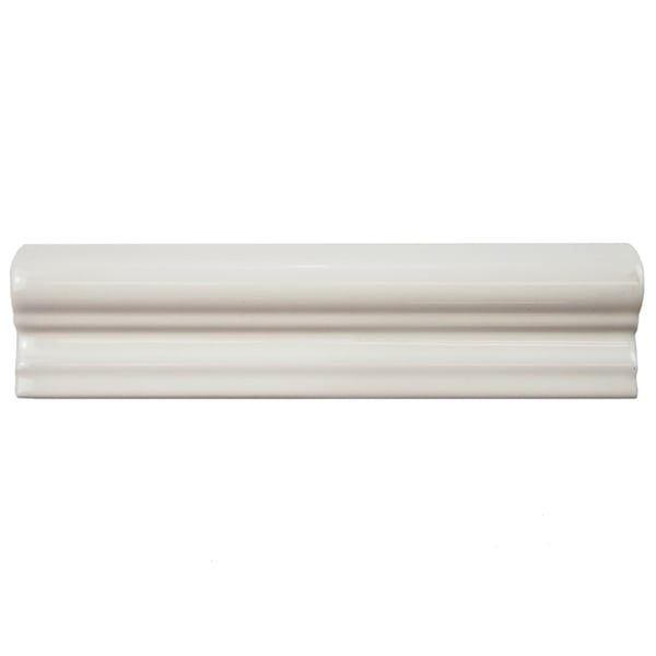 SomerTile 2x8-inch Travessa Biselada Blanco Ceramic Moldura Trim Tile (Pack of 6)