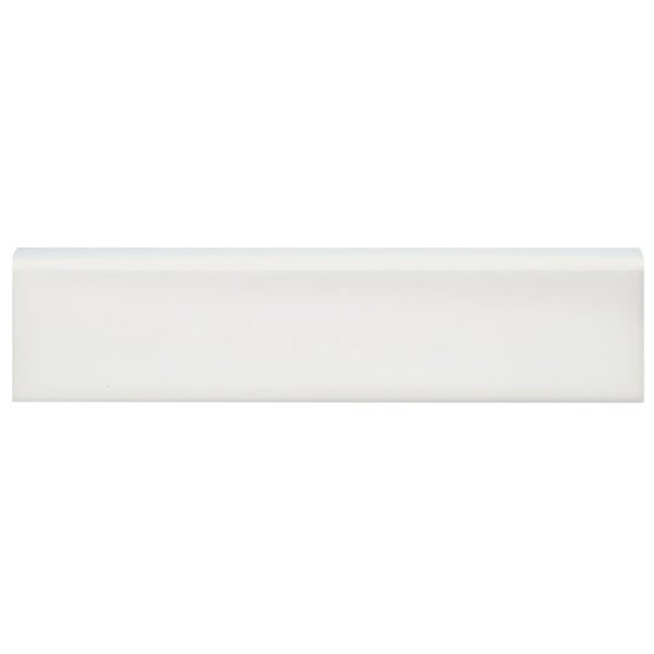 SomerTile 2x8-inch Travessa Biselada Blanco Ceramic Bullnose Trim Wall Tile (Pack of 6)
