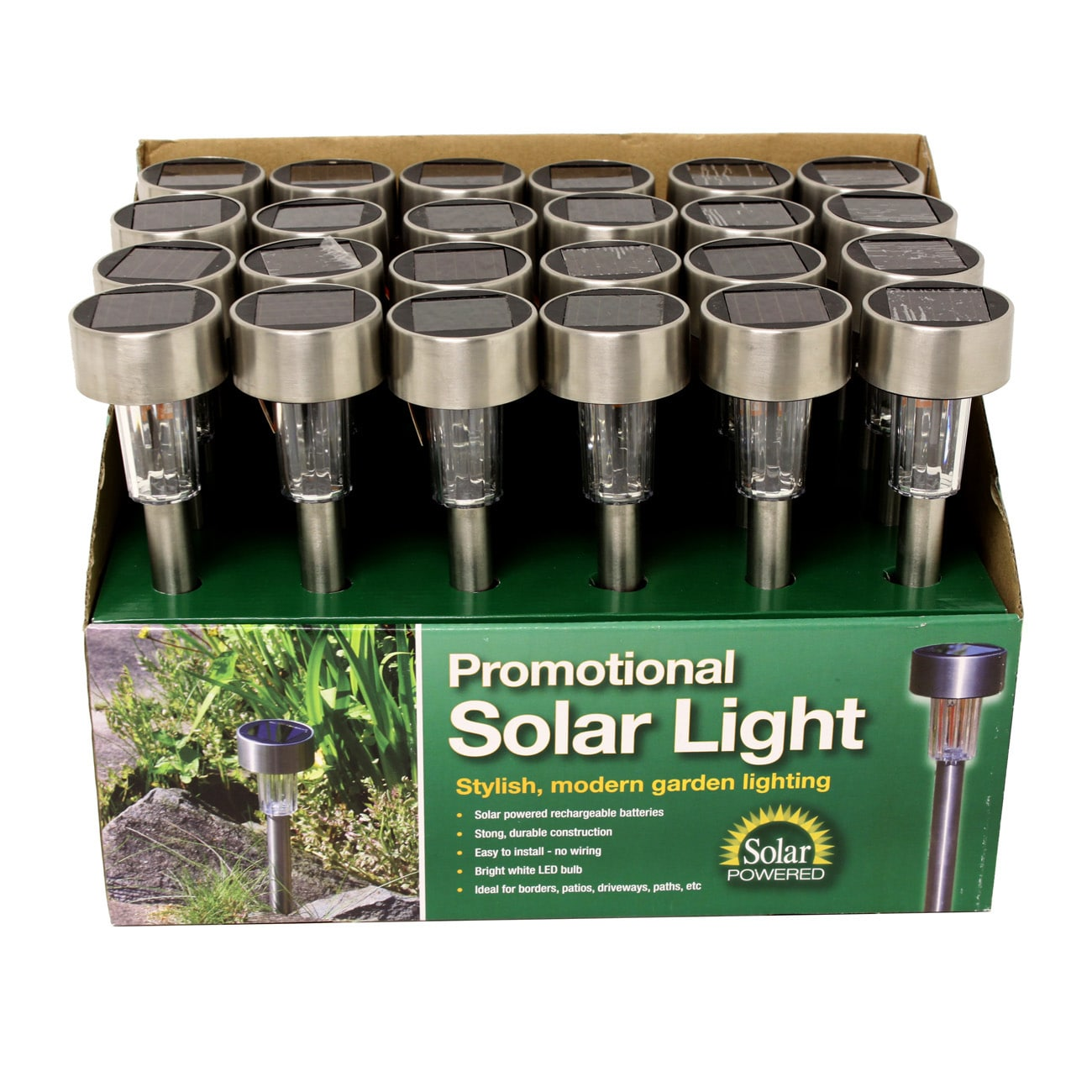 Shop Outdoor Garden Stainless Steel Solar Lights Set of 24  Free Shipping Today  Overstock