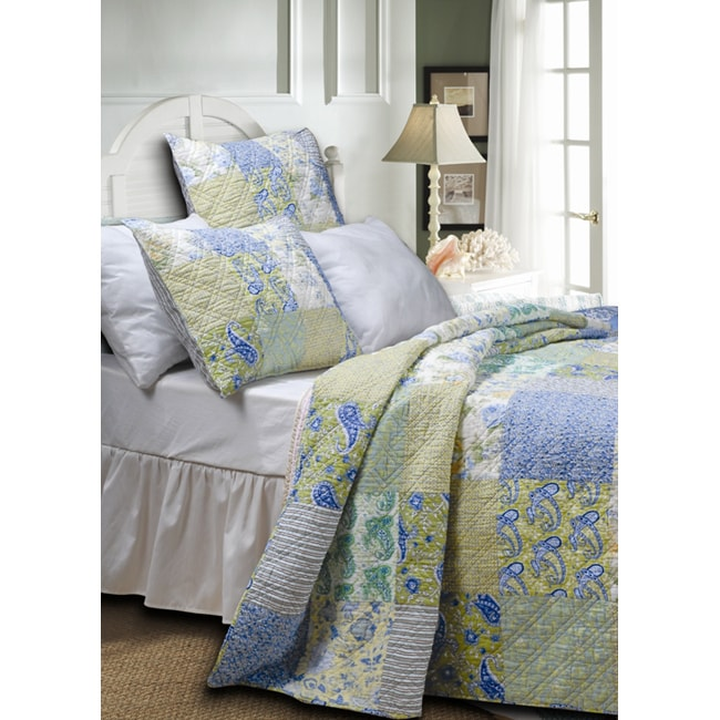 Greenland Home Fashions Vintage Jade Quilted Cotton Multicolor Floral Striped 3-piece Bedspread Set