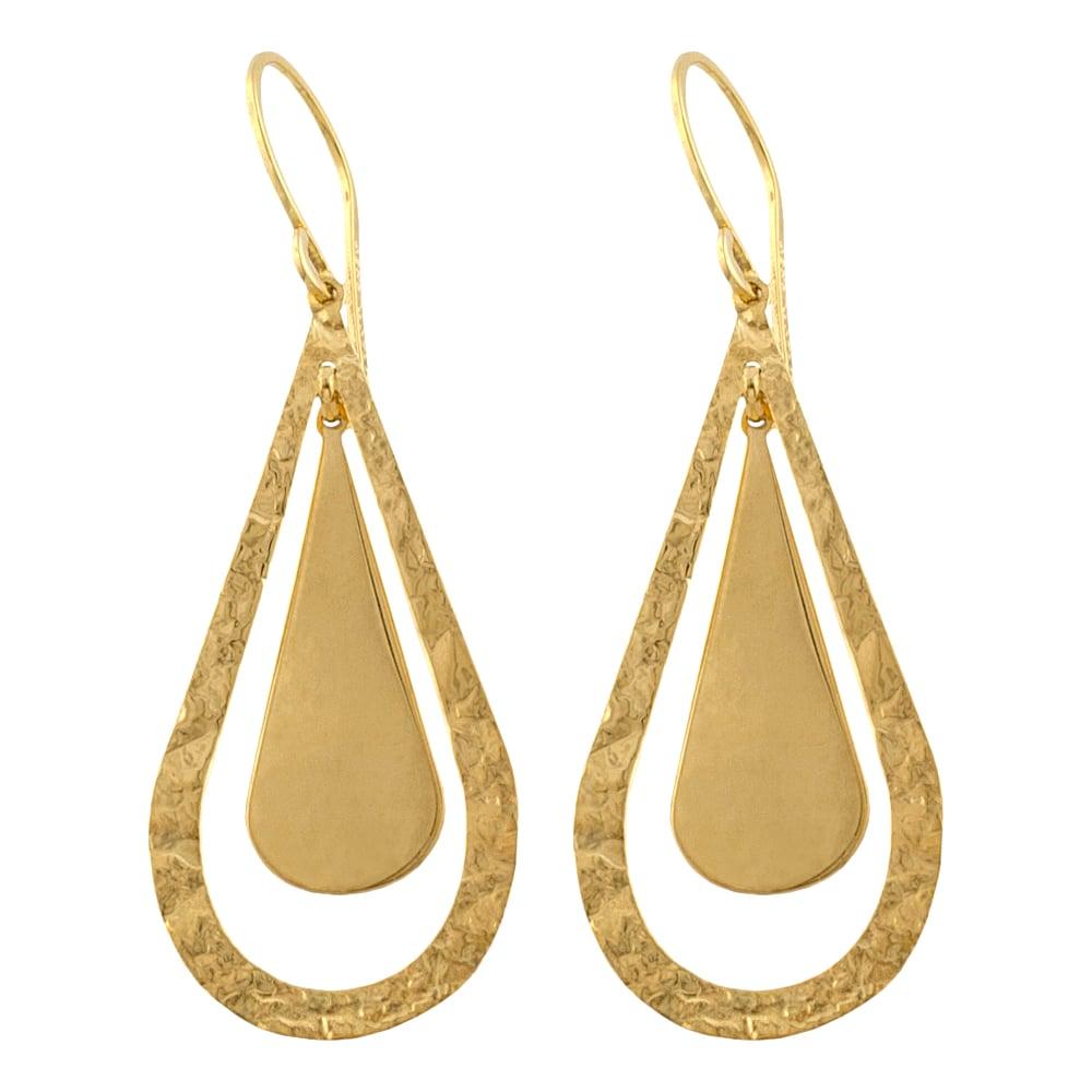 shop fremada 14k yellow gold polished hammered teardrop. Black Bedroom Furniture Sets. Home Design Ideas