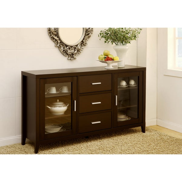 Furniture Of America Metropolitan Dining Buffet TV Cabinet In Dark Espresso
