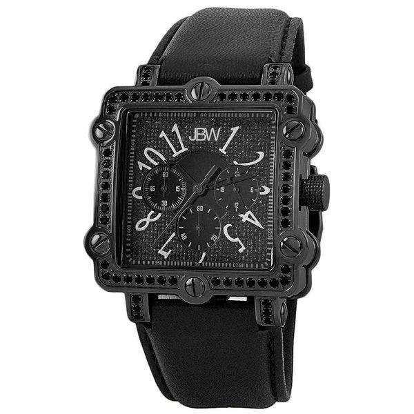 "JBW Men's ""Mason"" Black Diamond Square Chronograph Leather Band Watch"