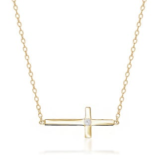 Finesque Sterling Silver Diamond Accent Sideways Cross 16.5-inch Necklace
