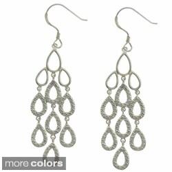 Finesque Sterling Silver Diamond Accent Teardrop Chandelier Earrings