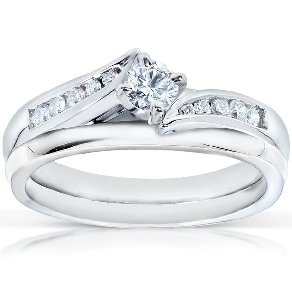 Annello by Kobelli 14k White Gold 1/3ct TDW Diamond Bridal Rings Set (H-I, I1-I2)