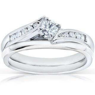 Annello by Kobelli 14k White Gold 1/3ct TDW Diamond Bridal Rings Set