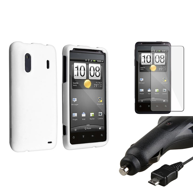INSTEN White Phone Case Cover/ LCD Protector/ Car Charger for HTC EVO Design 4G/ Hero S