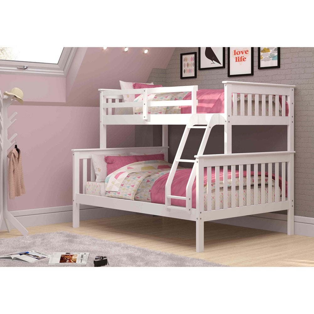 Donco Kids Mission Twin / Full Bunk Bed (White - White Fi...