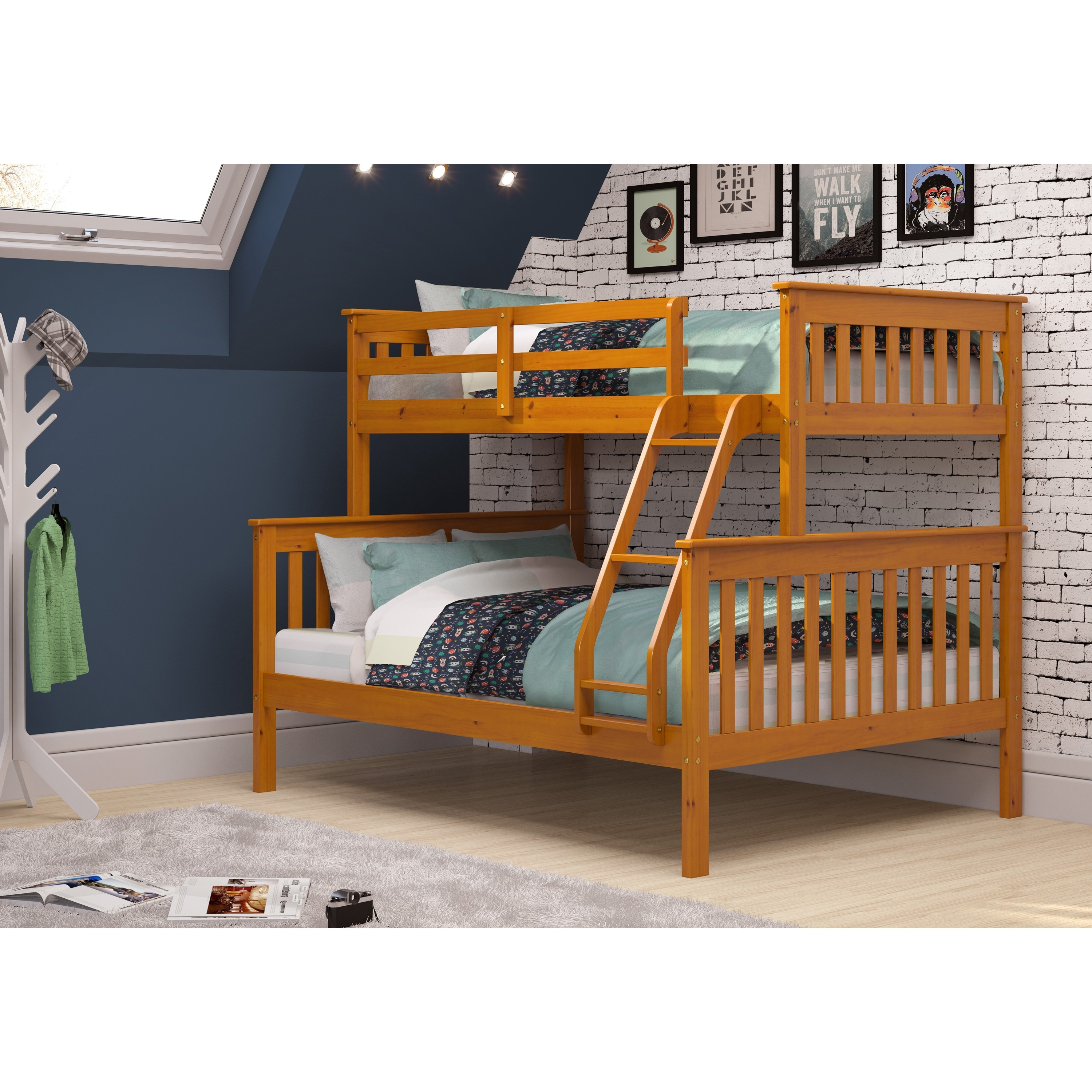 Picture of: Donco Kids Mission Twin Full Bunk Bed In Honey Overstock 6800300