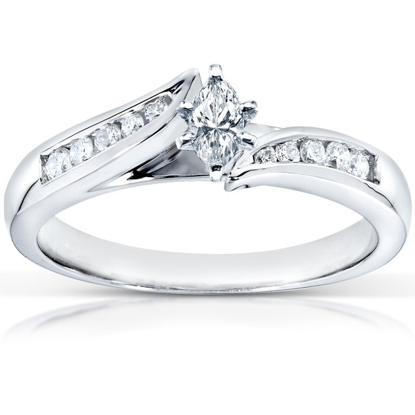 Annello by Kobelli 14k White Gold 1/3ct TDW Marquise Diamond Engagement Ring (H-I, I1-I2)