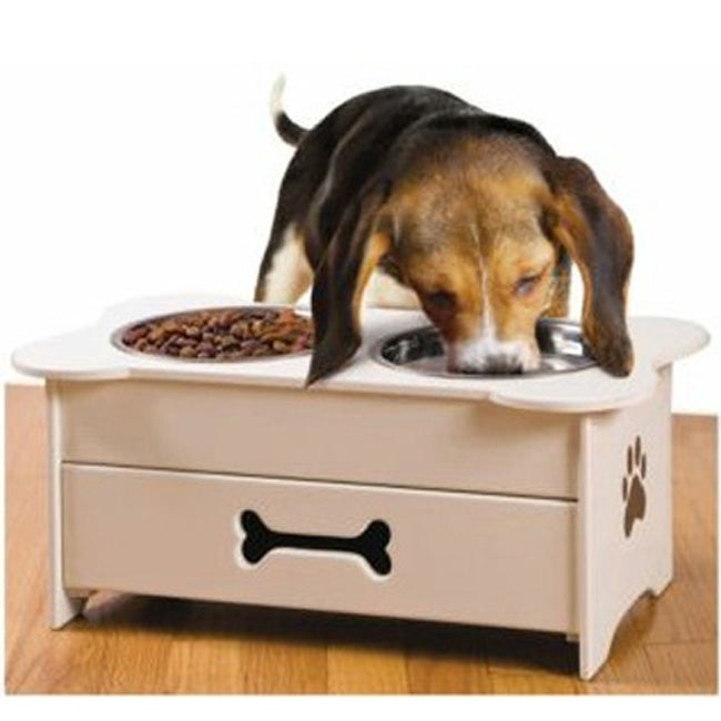 Shop Wooden Pet Feeder With Pull Out Drawer And Stainless