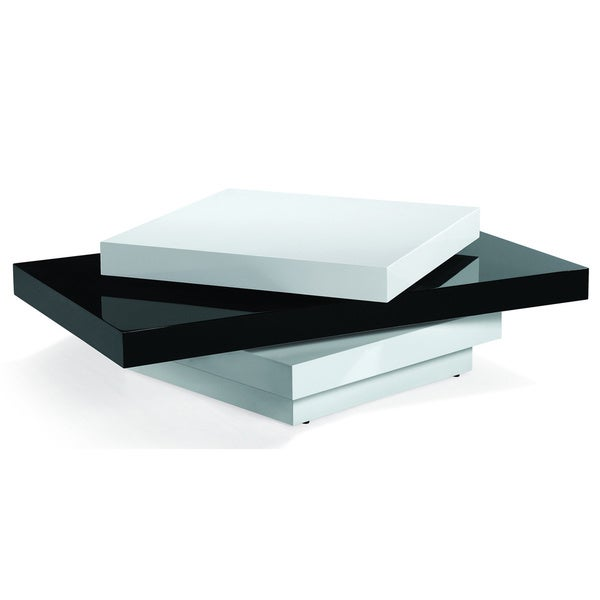 Black / White High Gloss Swivel Coffee Table