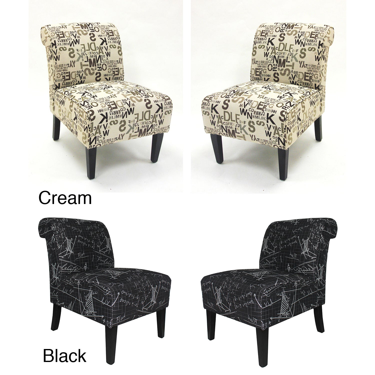 Modern Accent Chairs in Architectural Fabric (Set of 2)