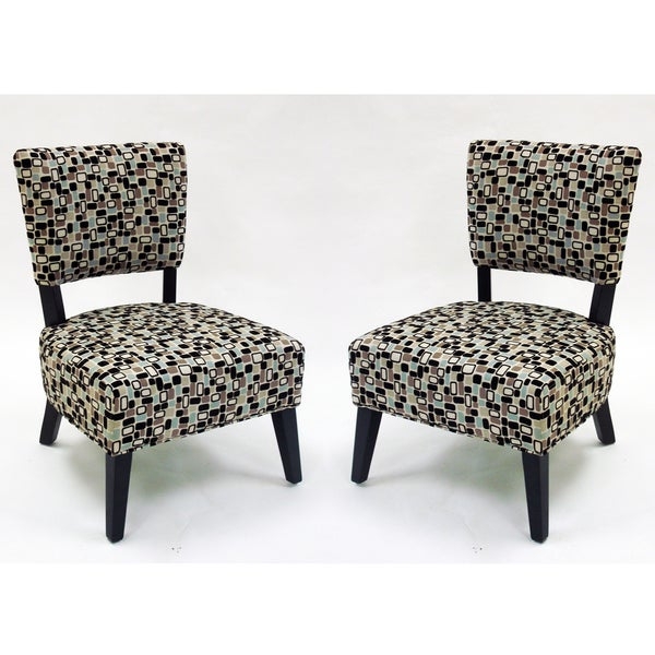 Geometric Fabric Modern Accent Chairs (Set of 2)