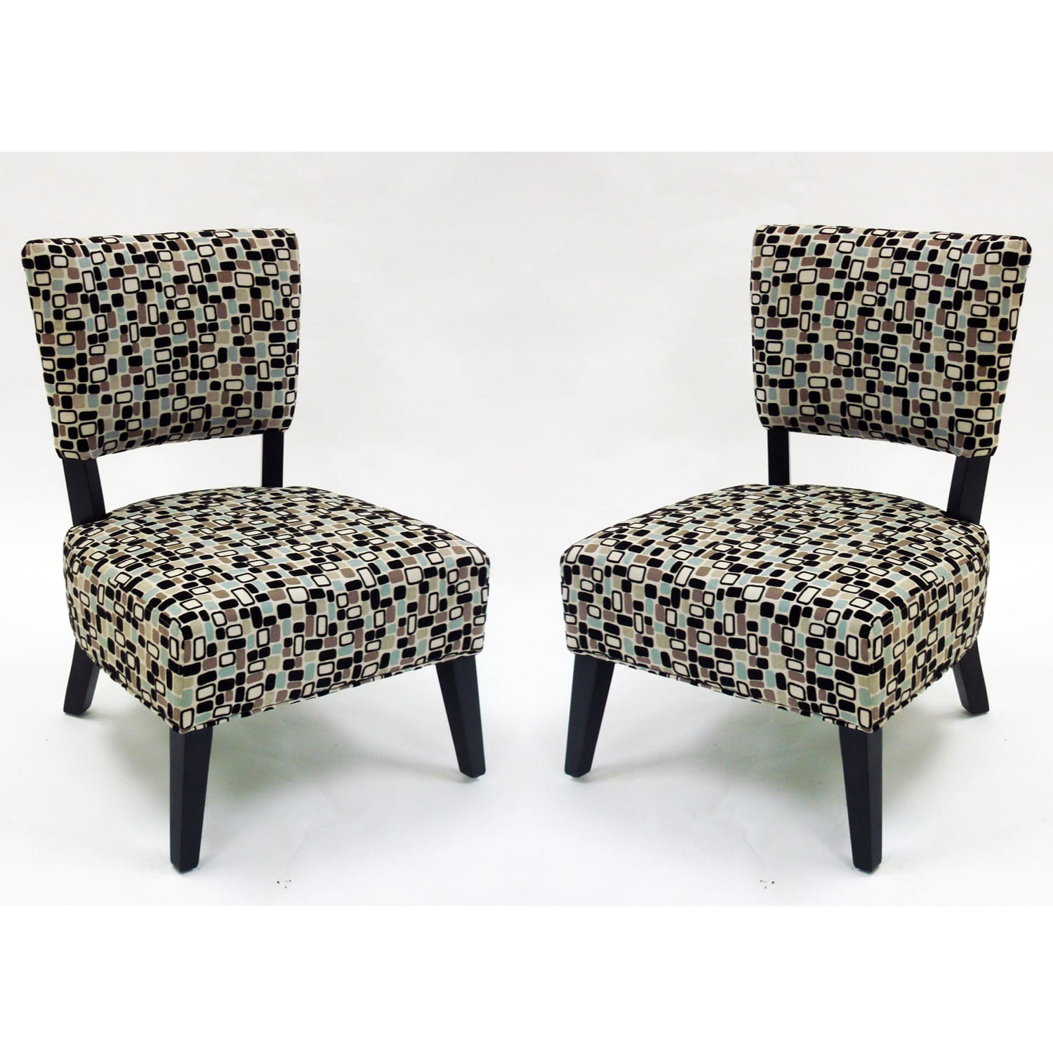 Geometric Fabric Modern Accent Chairs Set of 2 Free